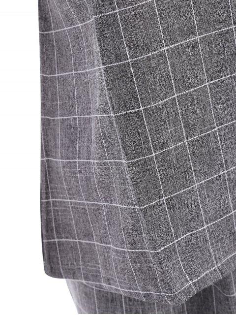 unique Plus Size Checked Top and Capri Straight Pant Suit - GRAY 3XL Mobile
