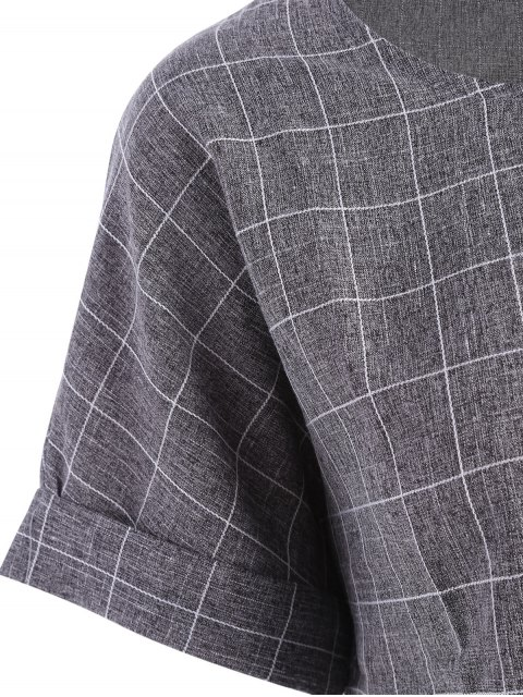 sale Plus Size Checked Top and Capri Straight Pant Suit - GRAY 2XL Mobile
