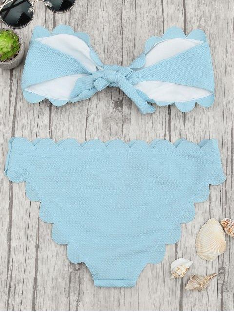 women Padded Scalloped Bandeau Bikini Set - LIGHT BLUE S Mobile