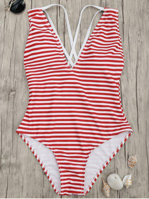 chic Cross Back Striped One Piece Swimsuit - RED STRIPES L Mobile