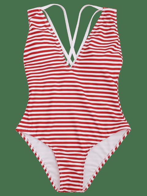fancy Cross Back Striped One Piece Swimsuit - RED STRIPES XL Mobile