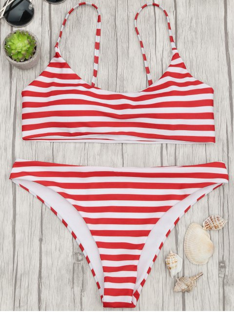latest Padded Striped Bralette Bikini Top and Bottoms - RED AND WHITE L Mobile