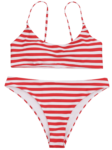 fashion Padded Striped Bralette Bikini Top and Bottoms - RED AND WHITE S Mobile