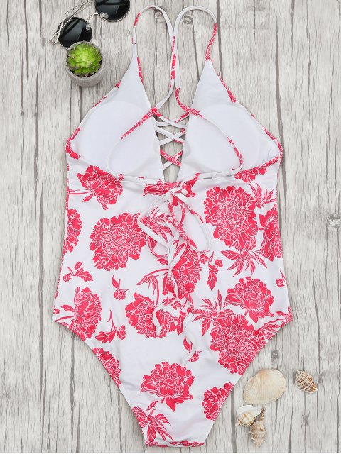 new Hydrangea Strappy Plunge One Piece Swimsuit - RED AND WHITE S Mobile