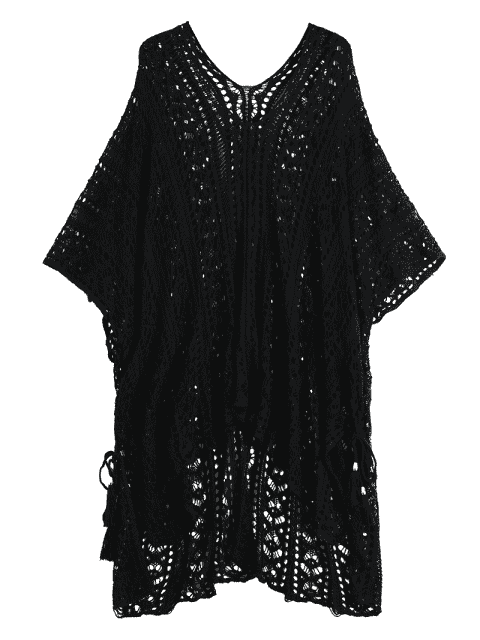 best Open Knit Beach Poncho Cover Up Dress - BLACK ONE SIZE Mobile