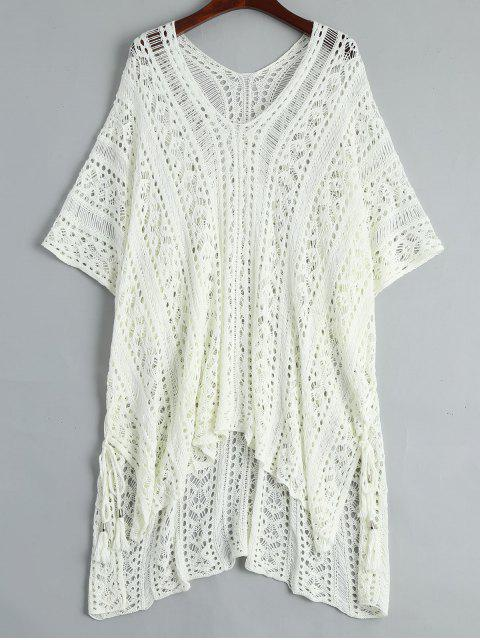 new Open Knit Beach Poncho Cover Up Dress - WHITE ONE SIZE Mobile