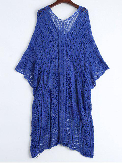 hot Open Knit Beach Poncho Cover Up Dress - BLUE ONE SIZE Mobile