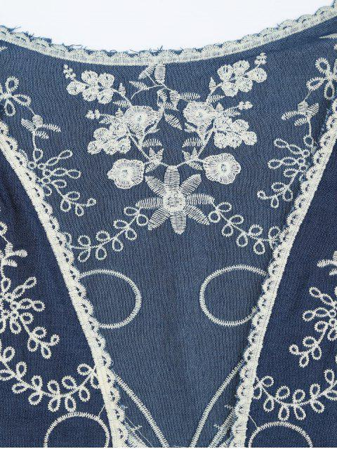 outfit Open Front Embroidered Beach Cover Up - BLUE ONE SIZE Mobile