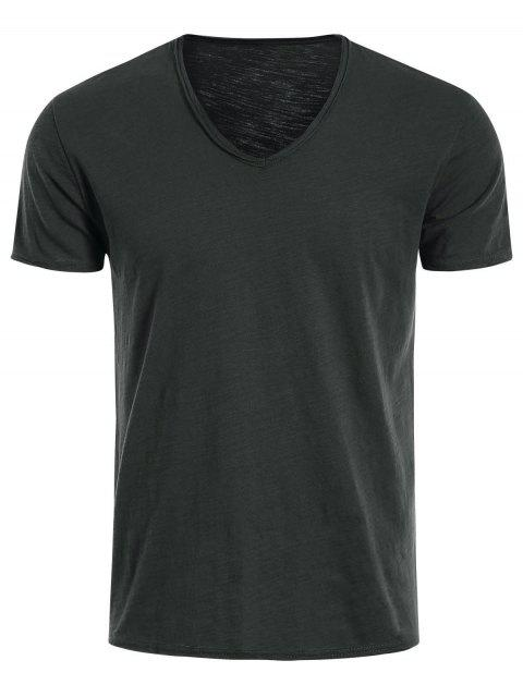 outfits Mens V Neck Cotton Basic Tee - DEEP GRAY 2XL Mobile