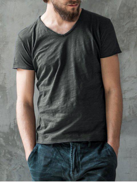 T-shirt en coton V Neck Basic - Gris Foncé 2XL Mobile