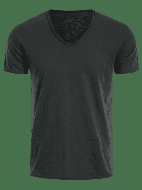 shop Mens V Neck Cotton Basic Tee - DEEP GRAY XL Mobile