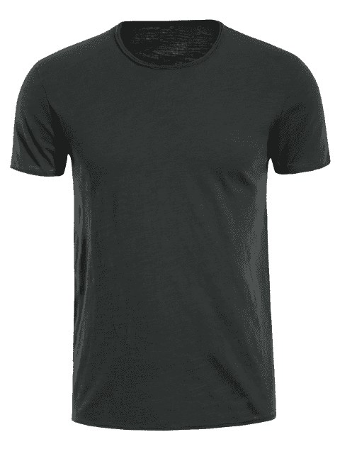 chic Round Neck Raw Edge Mens Basic Tee - DEEP GRAY 2XL Mobile