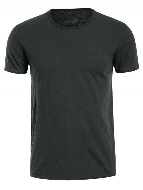 T-shirt Basique Simple Col Rond - Gris Foncé XL Mobile