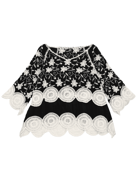 Crocheted Embroidered Beach Cover Up Top - Noir TAILLE MOYENNE Mobile