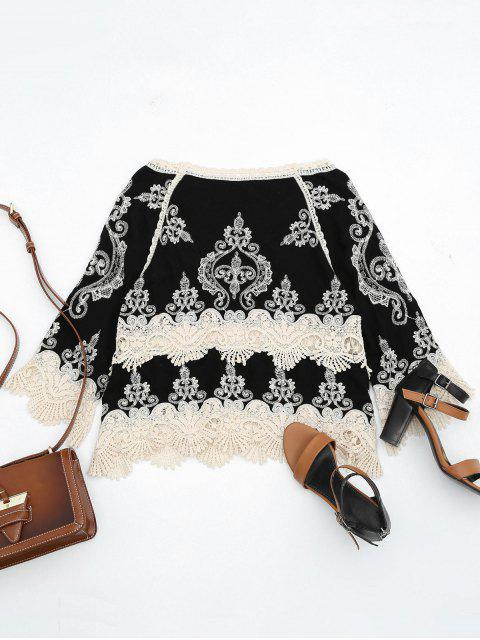affordable Contrasting Crochet Panel Beach Cover Up Top - BLACK ONE SIZE Mobile