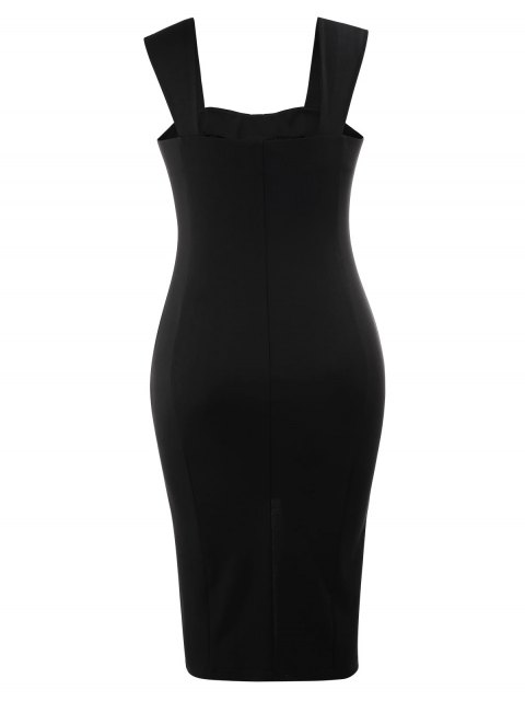 Lace Up Bodycon Grande Robe Midi - Noir XL Mobile