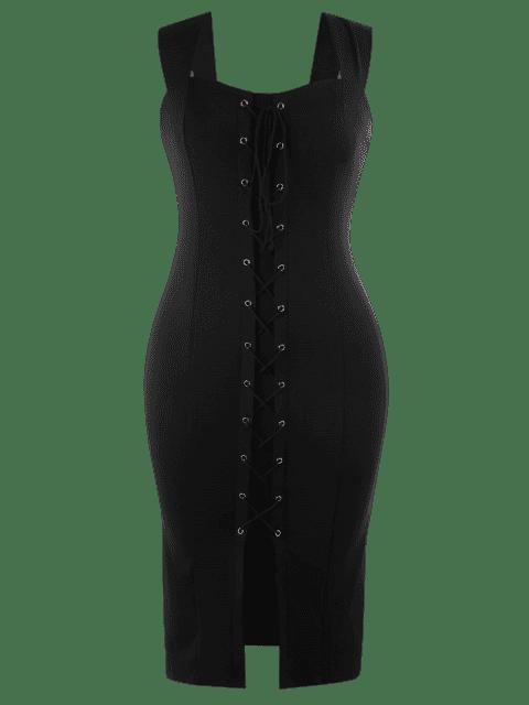 Lace Up Bodycon Grande Robe Midi - Noir 4XL Mobile