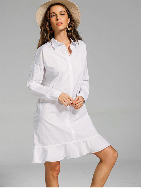Robe Chemise Boutonnée à Volant - Blanc M Mobile