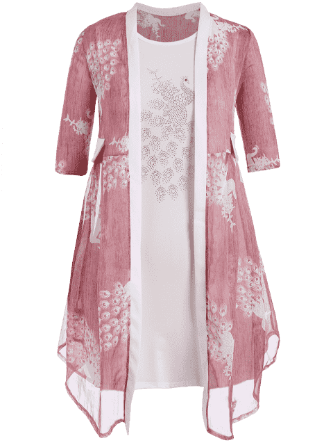 Robe Bodycon Plus Size avec Kimono Peacock - ROSE PÂLE 3XL Mobile