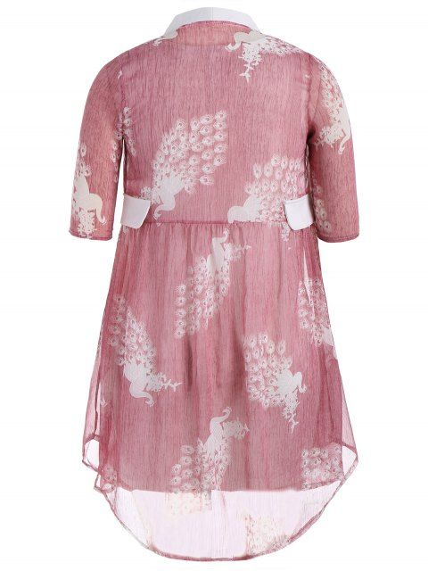 sale Bodycon Plus Size Dress with Peacock Kimono - PINK 2XL Mobile