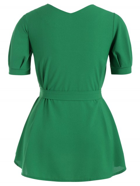women's Puff Sleeve Plus Size Belted Dress - GREEN 4XL Mobile
