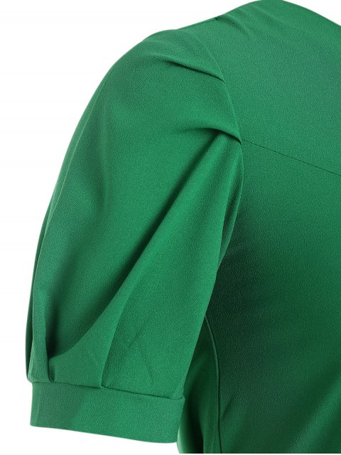 Puff Sleeve Plus Size Belted Dress - Vert 5XL Mobile