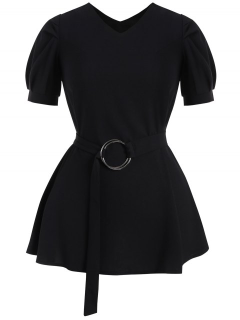 online Puff Sleeve Plus Size Belted Dress - BLACK 5XL Mobile