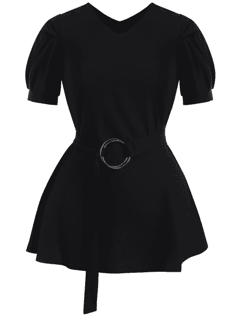 Puff Sleeve Plus Size Belted Dress - Noir 5XL Mobile