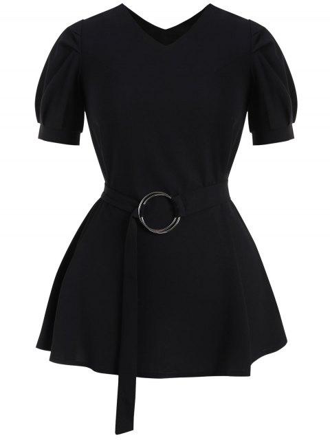Robe Ceinturée avec Manches Bouffantes - Noir 3XL Mobile