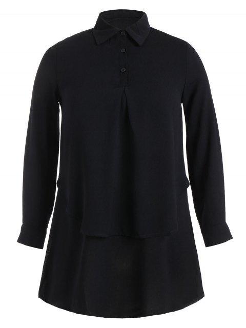 Blusa de doble capa con talla grande Plus Size - Negro 2XL Mobile