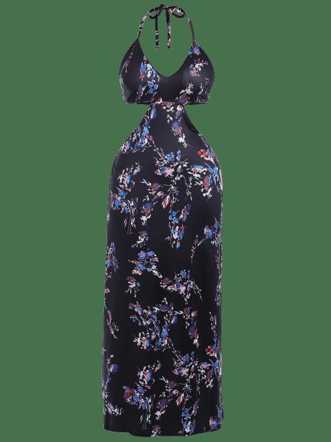 Halter Cut Out Plus Size Robe Maxi rembourrée - Noir 2XL Mobile