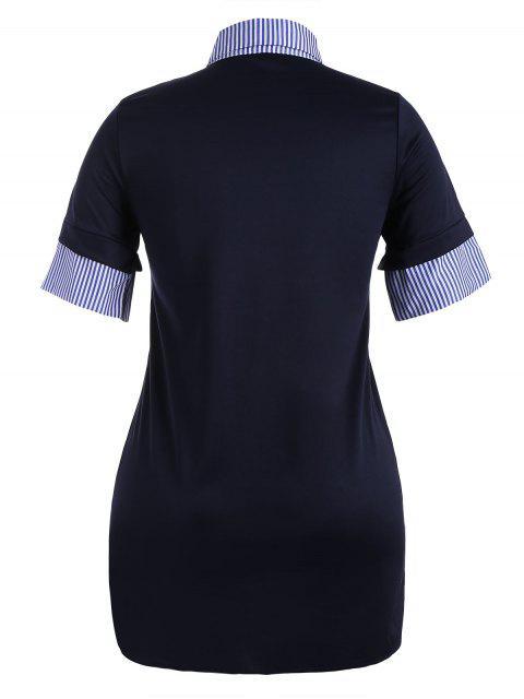 Striped Plus Size Bodycon Preppy Dress - Bleu Violet 3XL Mobile