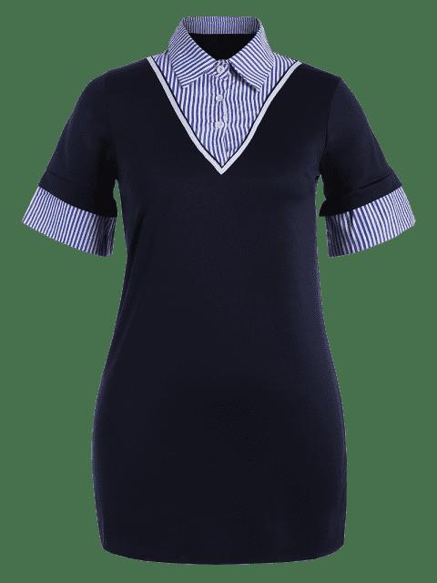 Striped Plus Size Bodycon Preppy Dress - Bleu Violet 4XL Mobile