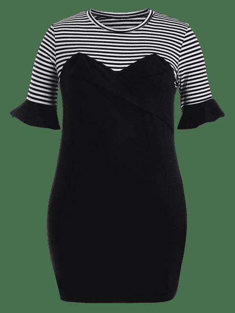 best Plus Size Ruffles Striped Bodycon Dress - BLACK 4XL Mobile