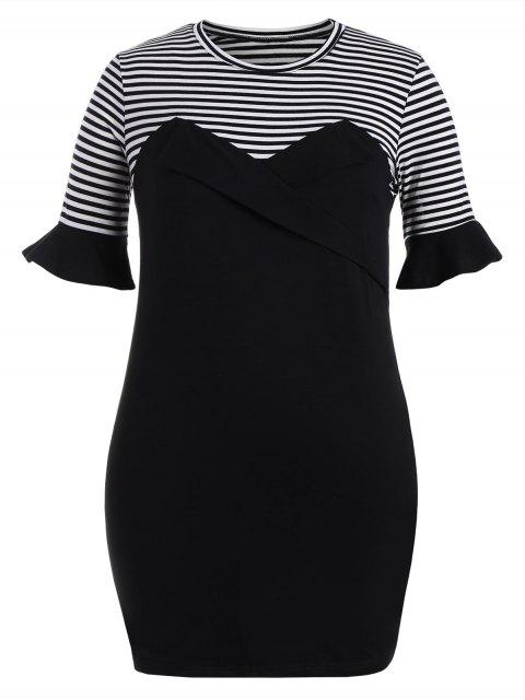 new Plus Size Ruffles Striped Bodycon Dress - BLACK 2XL Mobile