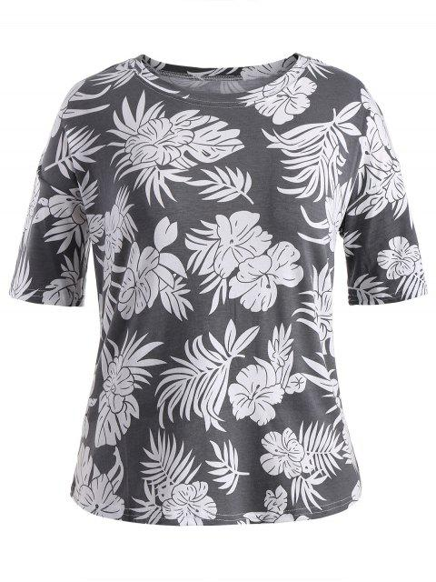 hot Short Sleeve Plus Size Graphic Leaf Print Tee - GRAY 3XL Mobile