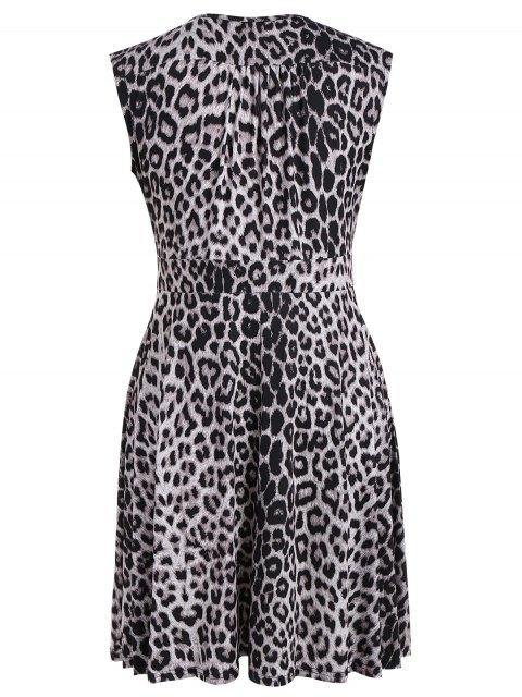 latest Plus Size Leopard Print Surplice Dress - BLACK LEOPARD PRINT 2XL Mobile