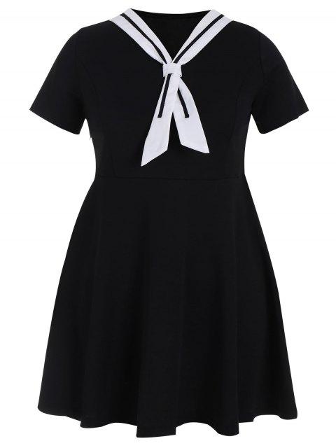 Plus Größe Riemchen Skater Sailor Kleid - Schwarz 3XL Mobile