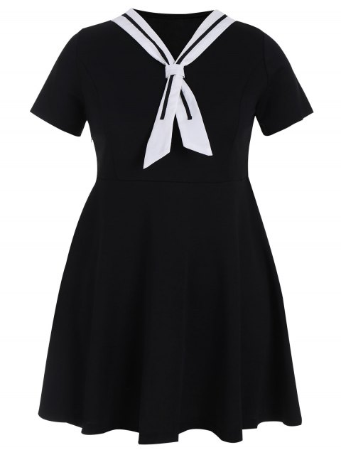affordable Plus Size Tied Skater Sailor Dress - BLACK 5XL Mobile