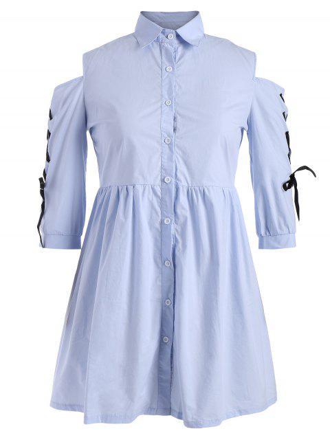 lady Plus Size Lace Up Cold Shoulder Shirt Dress - WINDSOR BLUE 3XL Mobile