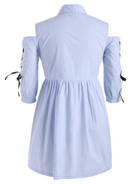 hot Plus Size Lace Up Cold Shoulder Shirt Dress - WINDSOR BLUE 5XL Mobile