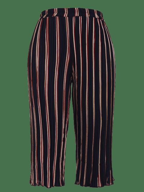 outfits Plus Size Pleated Striped Capri Gaucho Pants - STRIPE XL Mobile