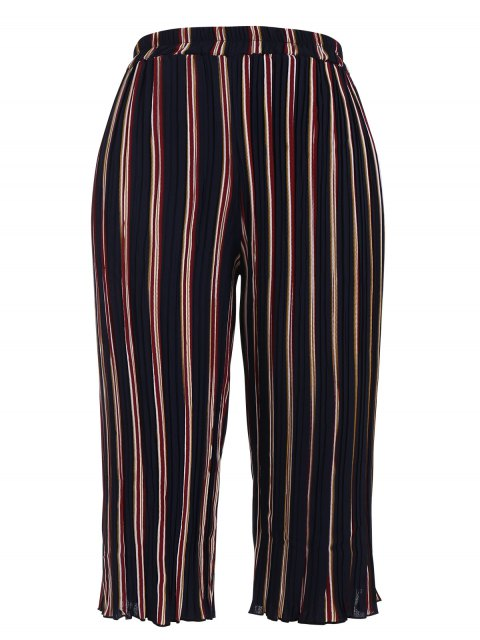 trendy Plus Size Pleated Striped Capri Gaucho Pants - STRIPE 3XL Mobile