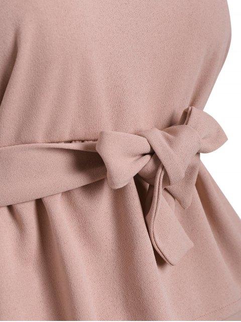 unique Plus Size Belted Ruffles Top with Capri Gaucho Pants - PAPAYA 5XL Mobile