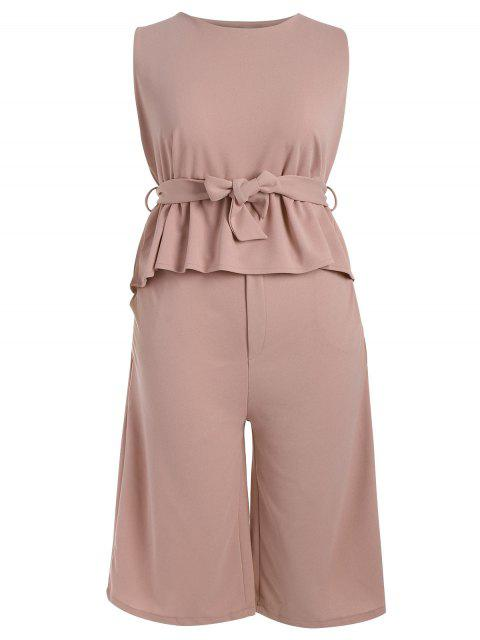 affordable Plus Size Belted Ruffles Top with Capri Gaucho Pants - PAPAYA 4XL Mobile