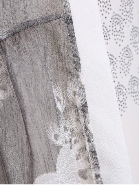 Robe Bodycon Plus Size avec Kimono Peacock - Gris 4XL Mobile