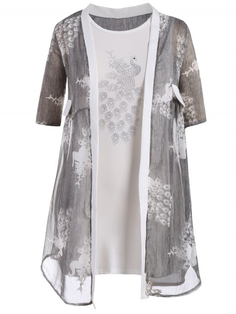 Bodycon Plus Size Vestido con Peacock Kimono - Gris 4XL Mobile