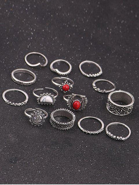 trendy Vintage Moon Sun Round Ring Set - SILVER  Mobile