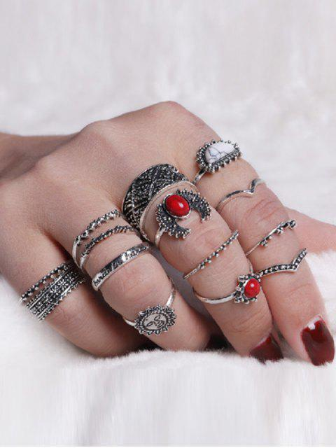 trendy Vintage Moon Sun Round Ring Set - SILVER  Mobile