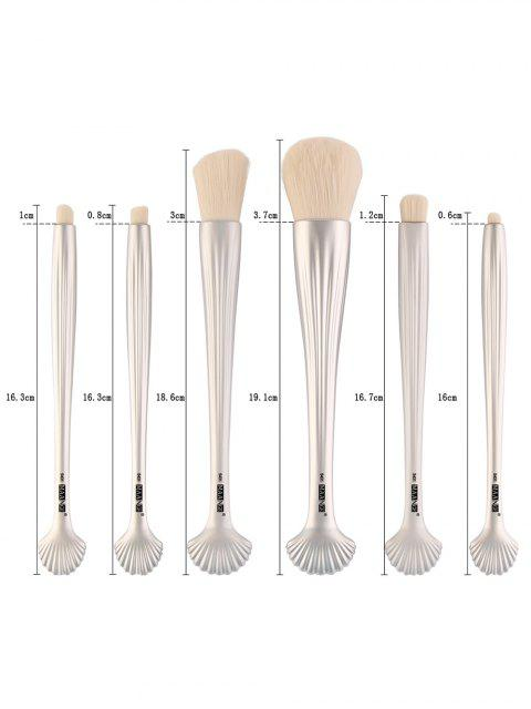 fashion 6Pcs Plated Shell Element Facial Makeup Brushes Set - SILVER  Mobile